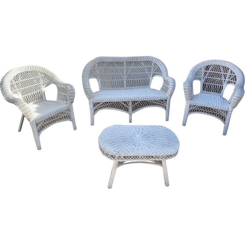 Vintage white rattan lounge set 2 armchairs and 1 bench 1 coffee table 1970