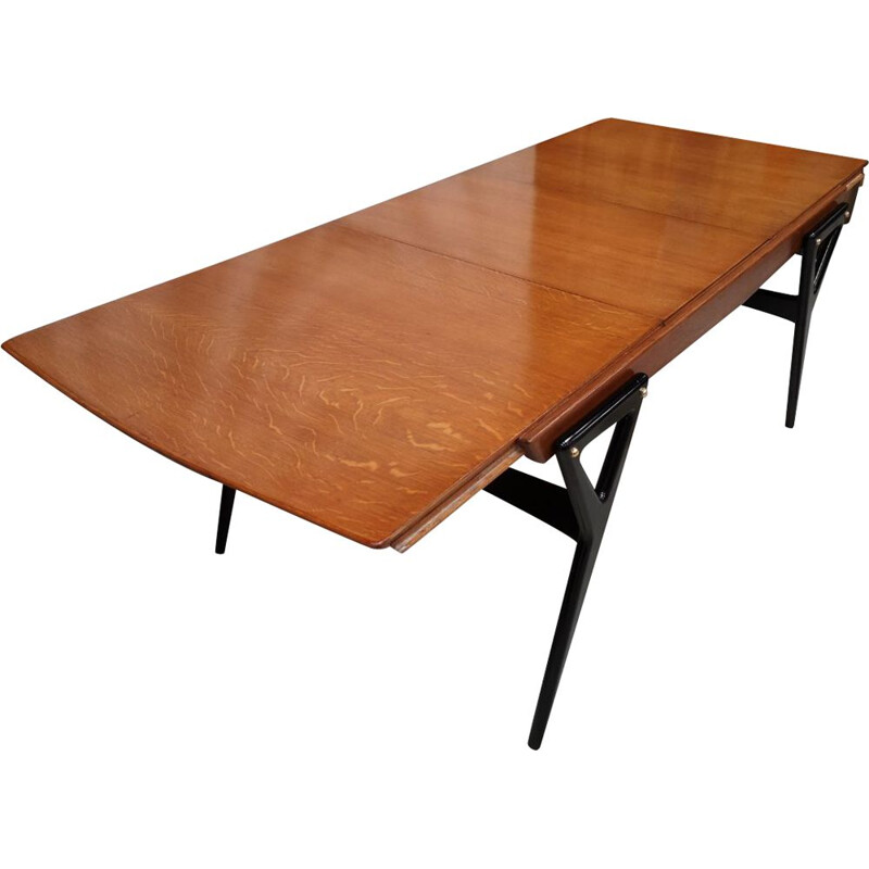 Vintage oak and black lacquered table for René Godfroid Louis Paolozzi Italy 1950
