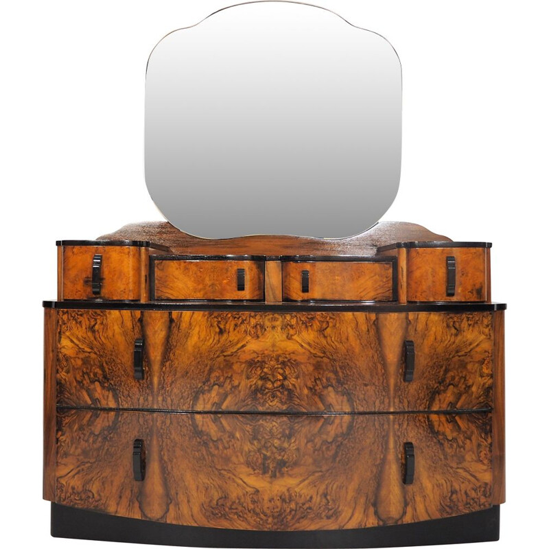 Vintage Dressing Table with Mirror by Jindřich Halabala, 1950s