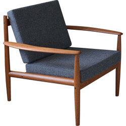 France & Son mid-century armchair in teak and fabric, Grete JALK - 1960s