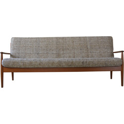 France & Son mid-century 3 seater sofa in teak and wool, Grete JALK - 1960s