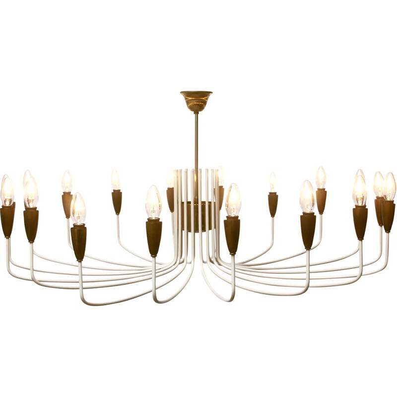 Italian large chandelier in white brass - 1950s