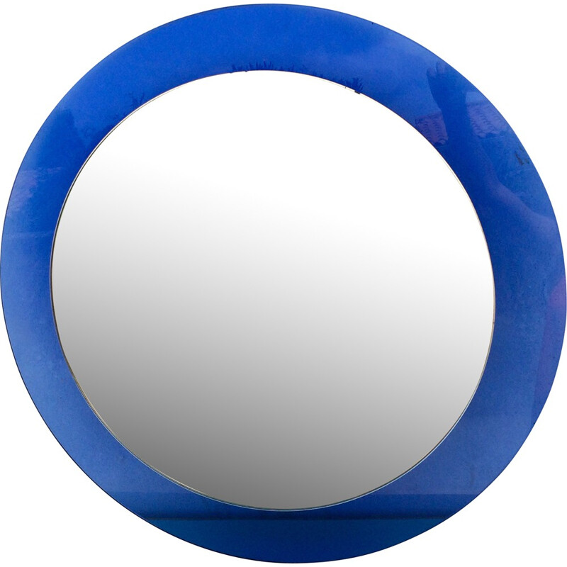 Veca large round blue mirror in glass - 1970s