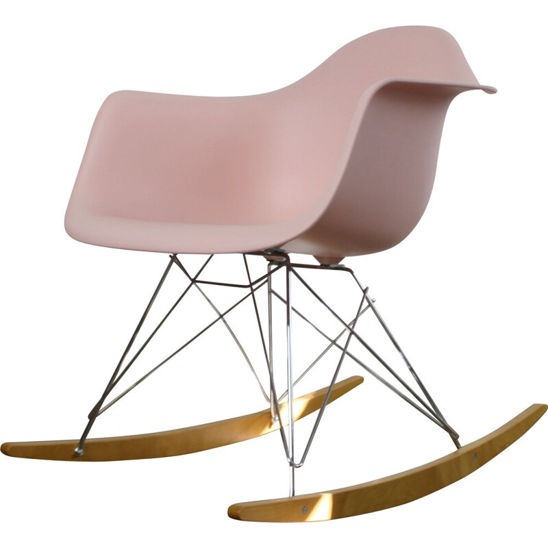 Vintage pink rocker plastic RAR Chair by Charles Eames for Vitra