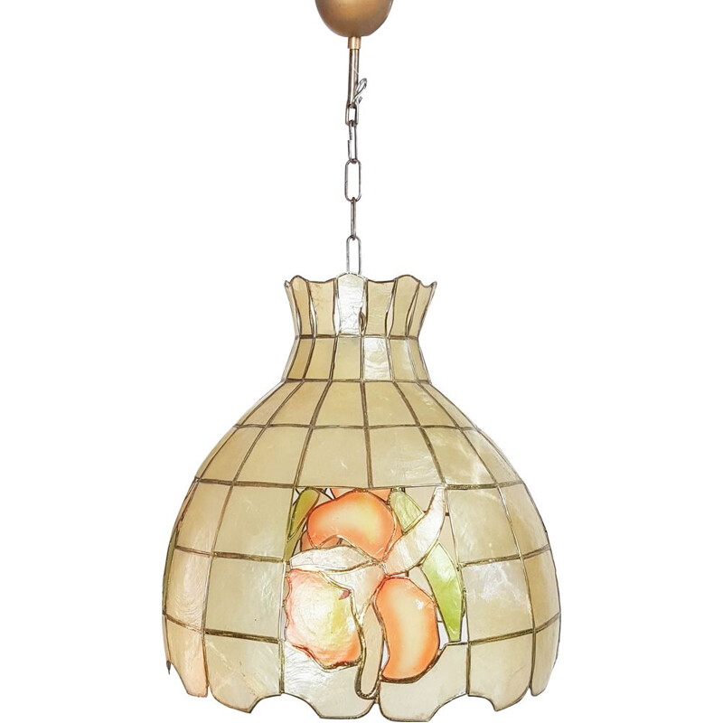 Vintage mother-of-pearl and brass pendant lamp, 1950