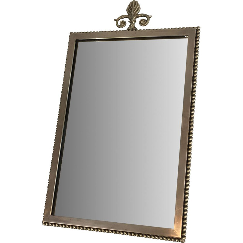 Small Vintage Neoclassical Brass Mirror 1970