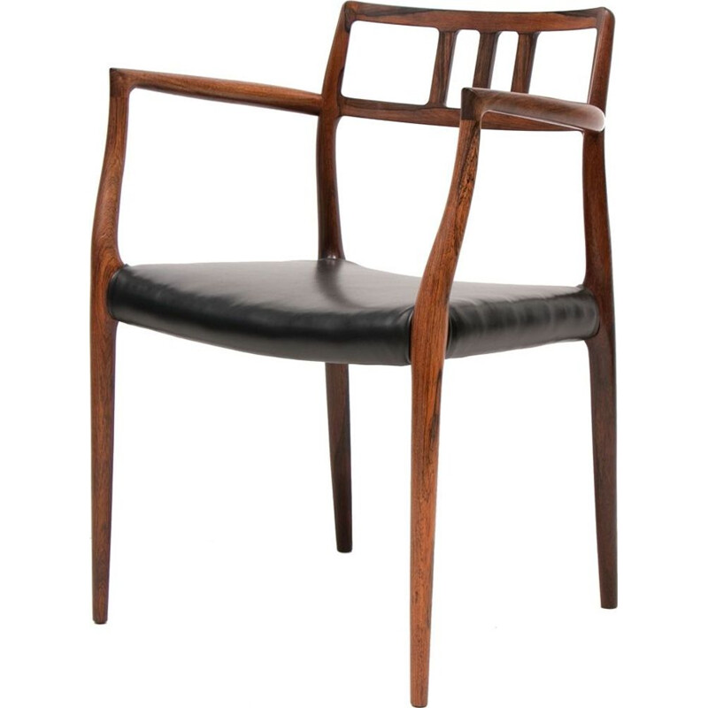 Midcentury Armchair Model 64 Rosewood and Leather by Niels O. Møller Danish 1966