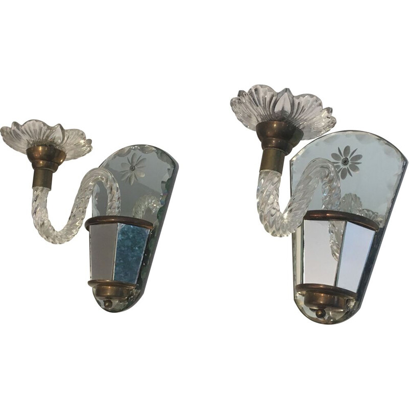Pair of 1970's Vintage Mirror and Brass Sconces
