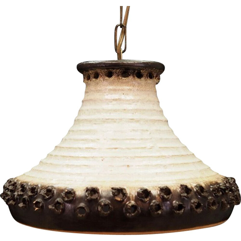 Vintage ceramic suspension lamp in white and brown 1970