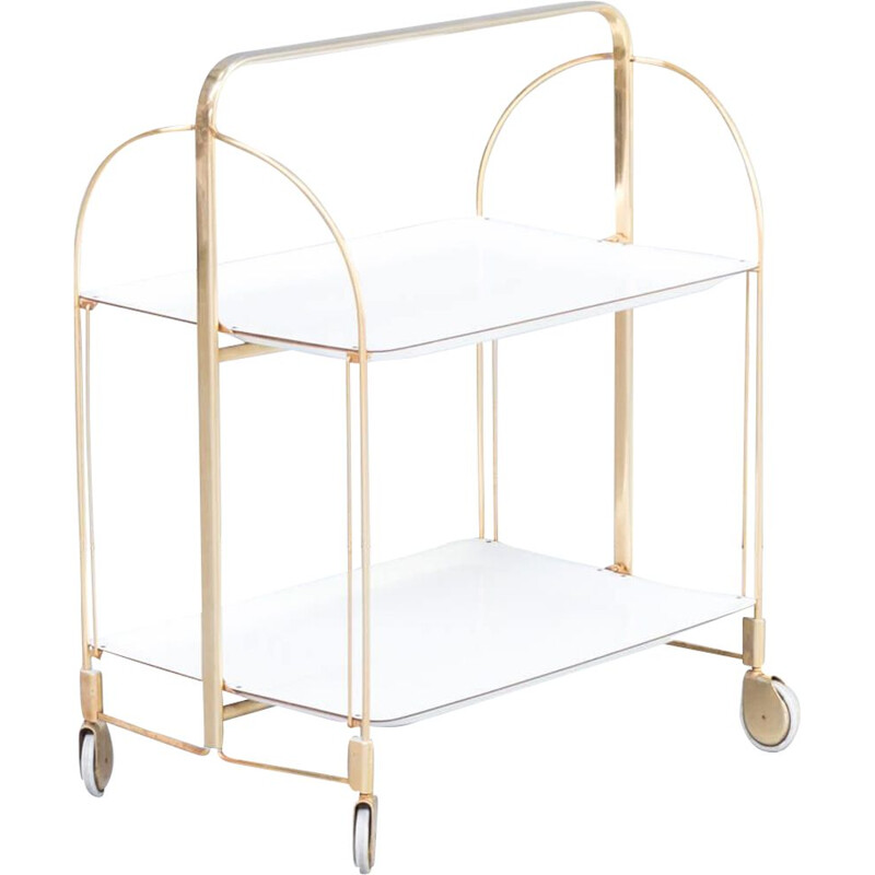 Vintage Brass and white serving trolley 1950