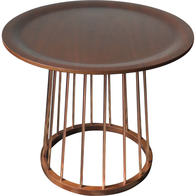 Vintage Teak and Copper Circular Coffee Table