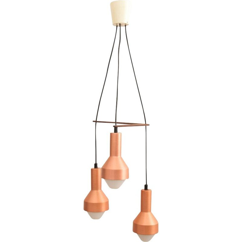 Midcentury 3-Tier Chandelier by Tapio Wirkkala for Idman, Copper Anodized