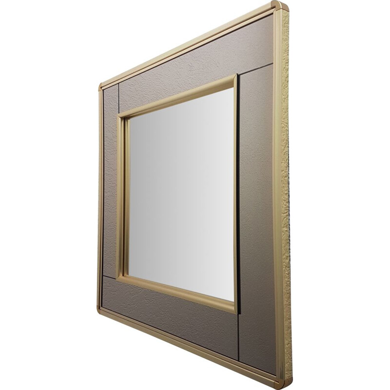 Vintage Gold plated mirror with smoked and clear mirror glass by Belgo Chrom, 1980s