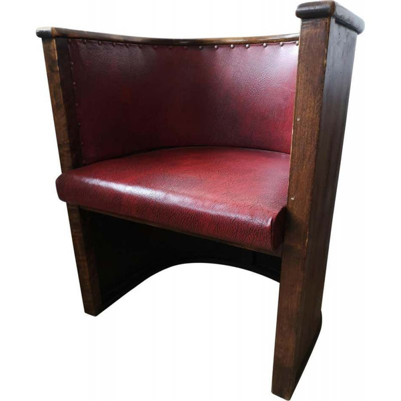 Vintage Stained Plywood and Faux Leather Chair by Otto Korhonen and Alvar Aalto