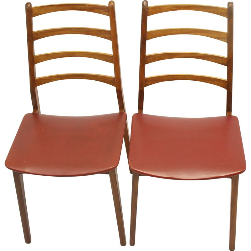 Pair of Vintage Red seat as a set dining table chairs with teak and vinyl 1960