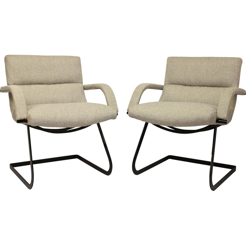 Pair of vintage Bauhaus steel armchairs 1960