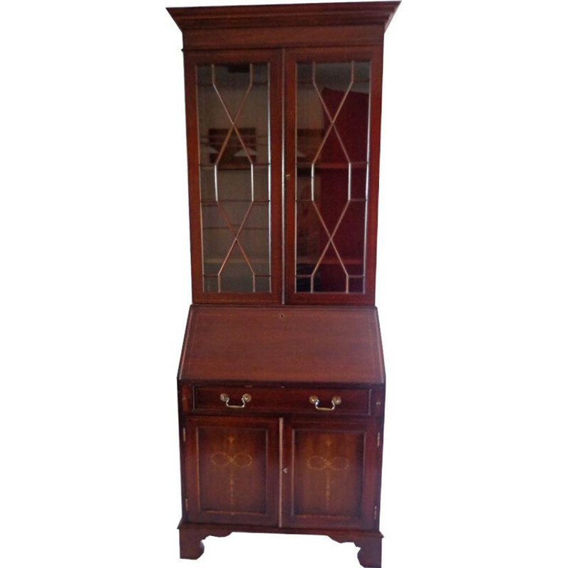 Vintage glass-case with a secretary. Made of solid mahogany English 1900