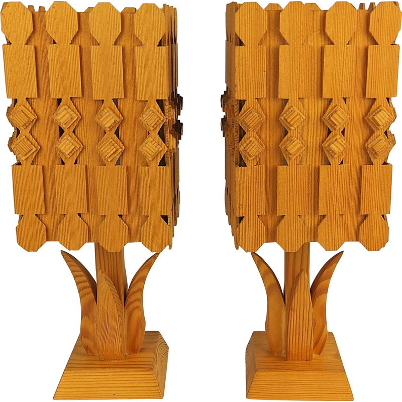 Pair of vintage scandinavian pine lamps 1960