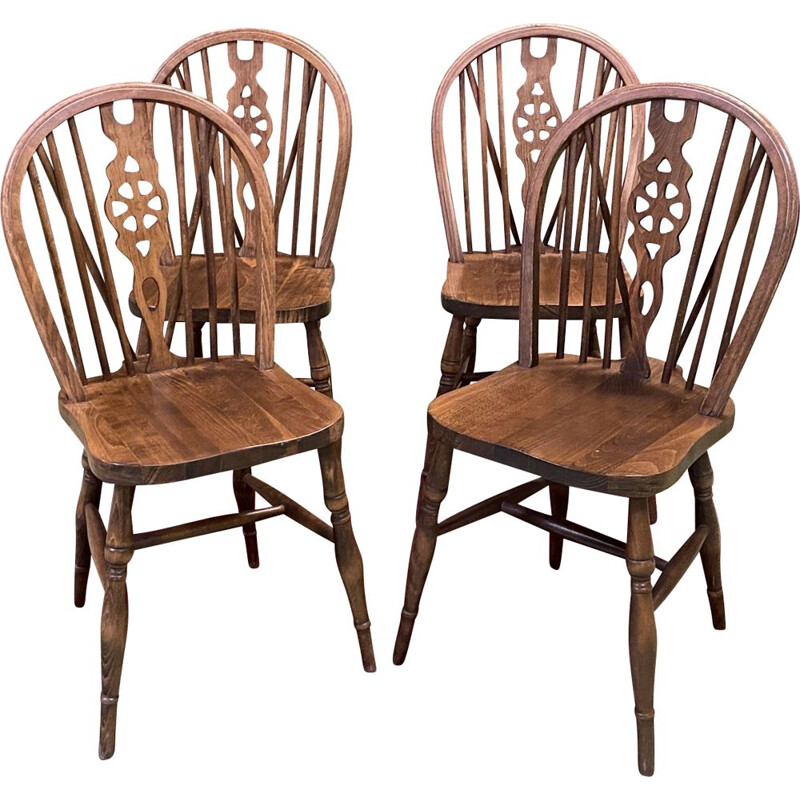 Suite of 4 vintage  English oak chairs 1950's