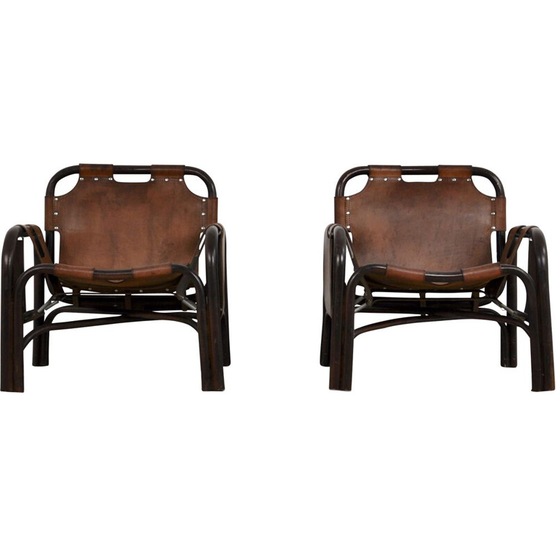 Set of 2 vintage Armchairs by Tito Agnoli, 1960s