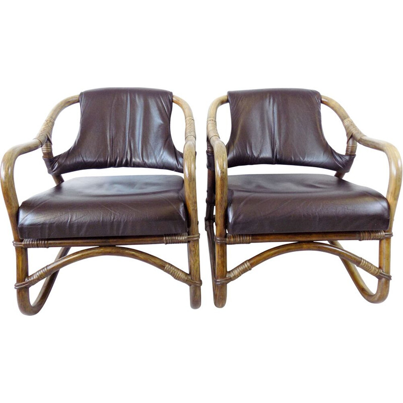Pair of  mid century Bamboo lounge chairs Danish