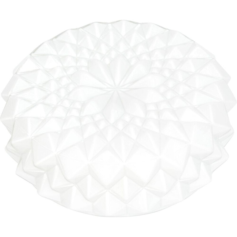Vintage White glass ceiling lamp, plafond Hustadt Leuchten, Germany, 1960s