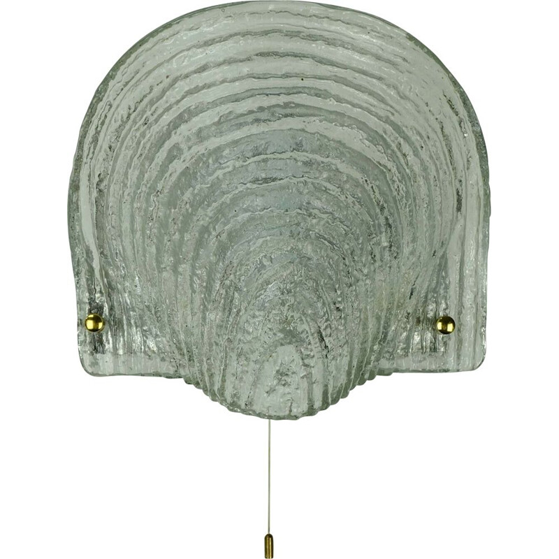 large mid century sconce wall lamp ice glass shell shape peill & putzler  1970s