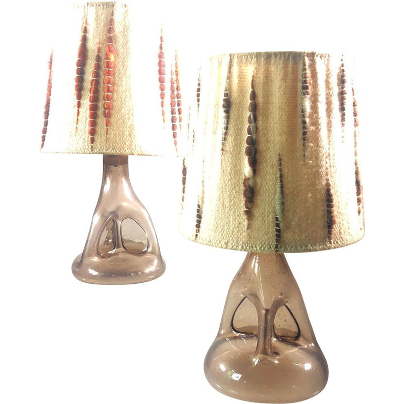 Pair of vintage Biot blown and bubble glass lamps