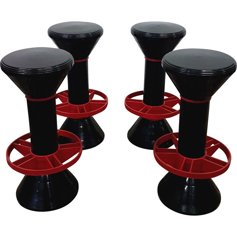 Set of 4 vintage bar stools Memphis, France 1970