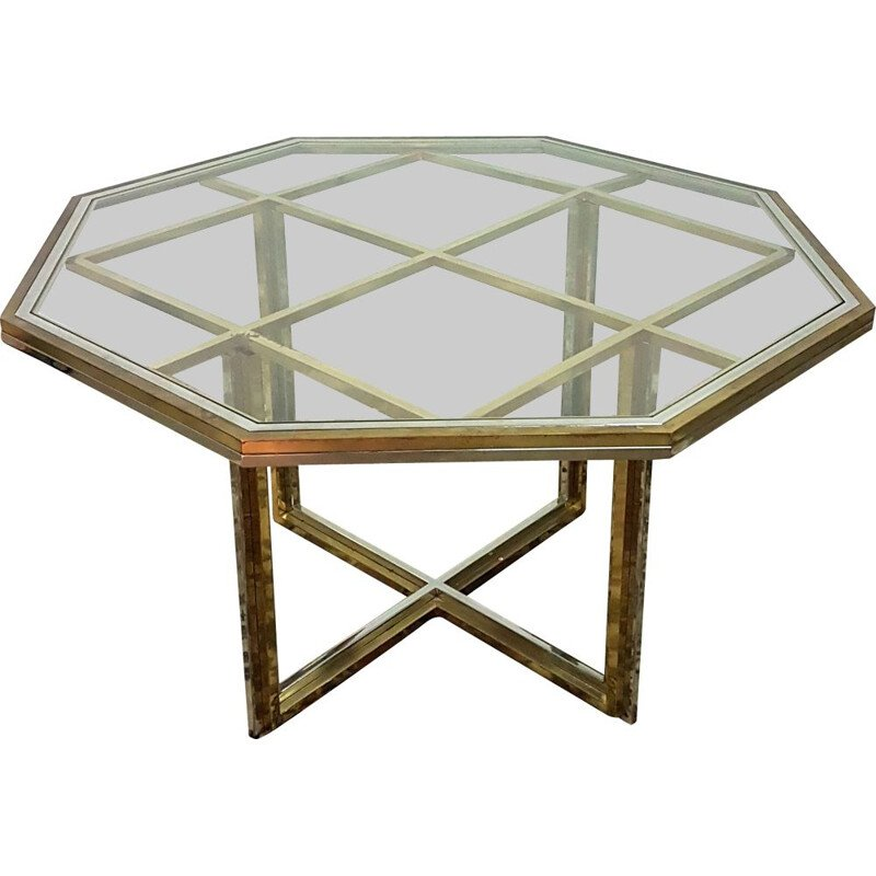 Vintage brass, chrome and glass dining table, Italy 1970