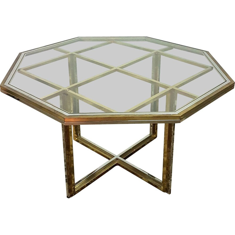 Vintage Exceptional brass, chrome and glass dining table, Italy 1970s