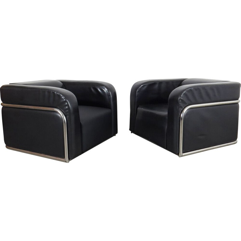 Pair of Tubular armchair Czechoslovakia 1970