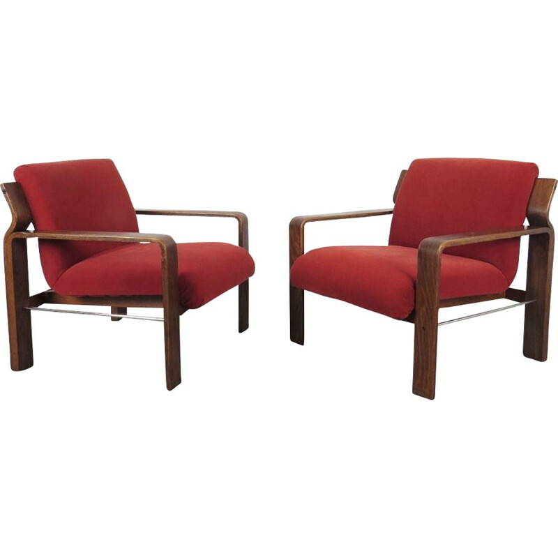 Pair of vintage Armchairs by Ludvik Volak Czechoslovakia 1970