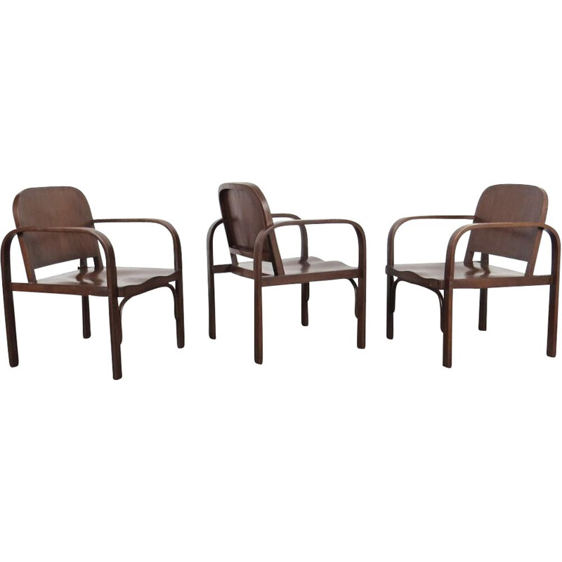 Set of 3 Vintage Armchair by Tatra Pravenec  Czechoslovakia 1950