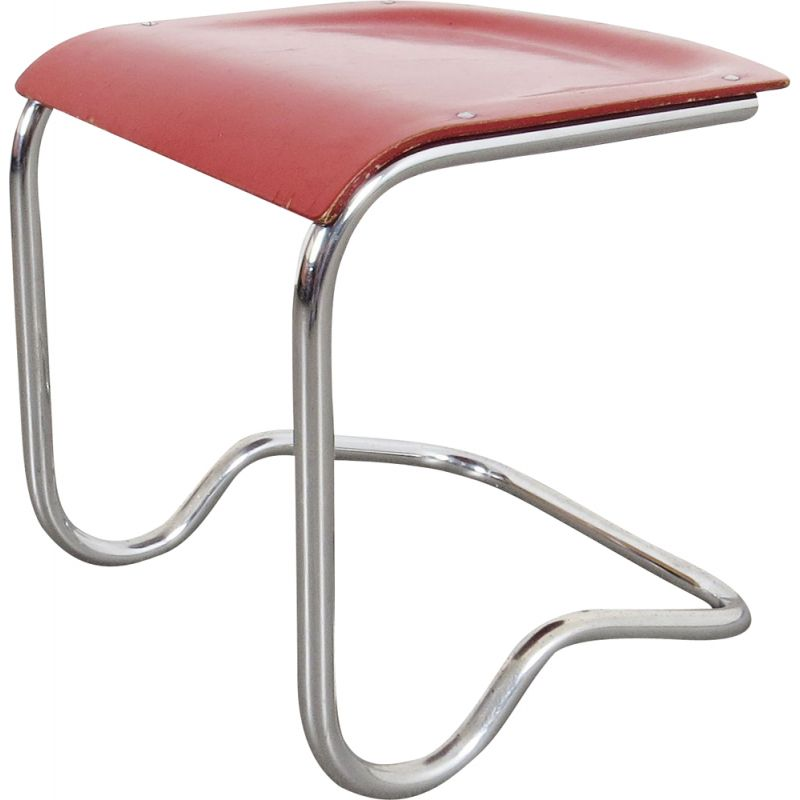 Vintage Tubular stool by SAB Czechoslovakia 1930