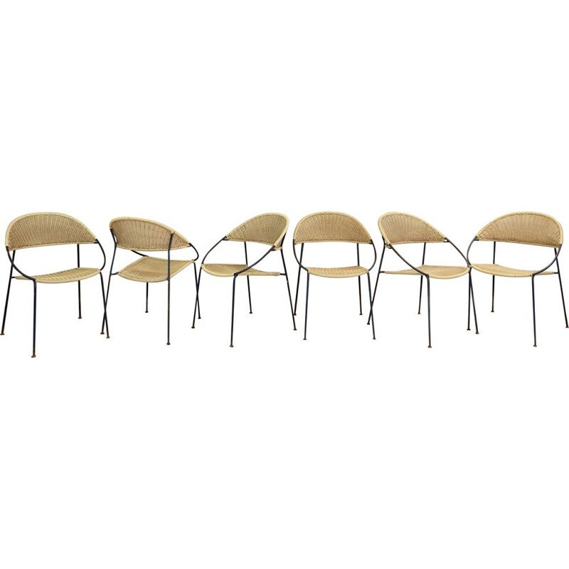 Set of 6 vintage chairs model DU41 by Gastone Rinaldi for RIMA. Italy, 1956