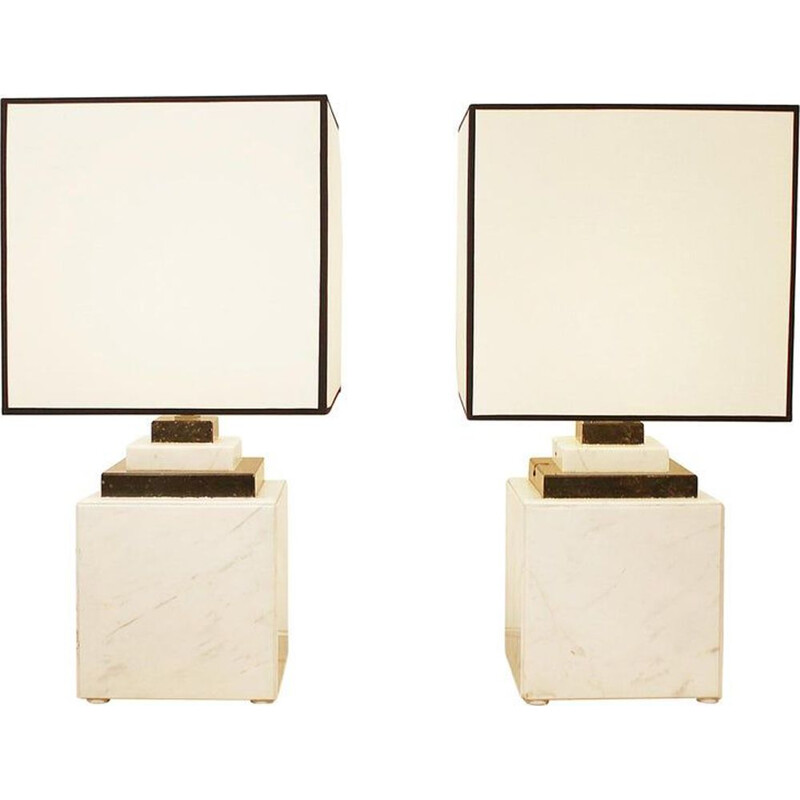 Pair of vintage marble lamps 1980