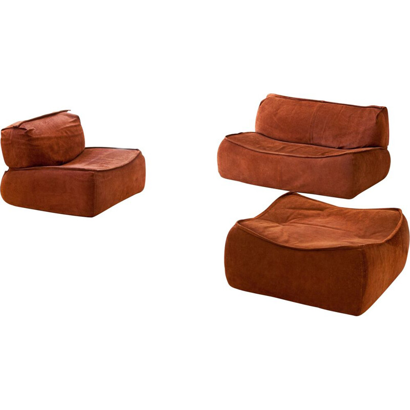 Vintage Cognac Suede Leather Sofa Set by Arcon, Italian 1970s