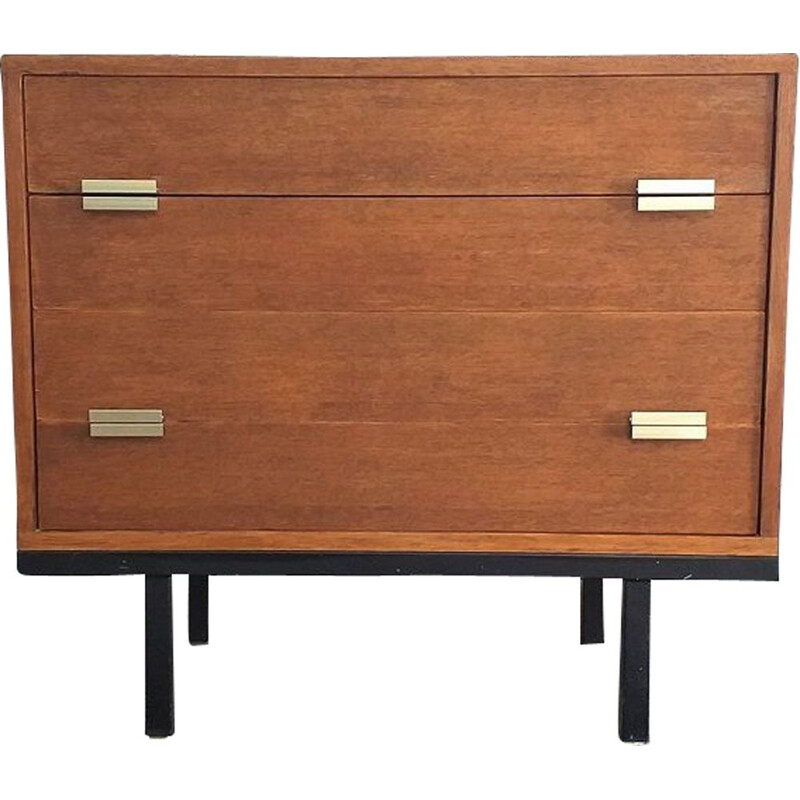 Vintage black lacquered metal chest of drawers 1950