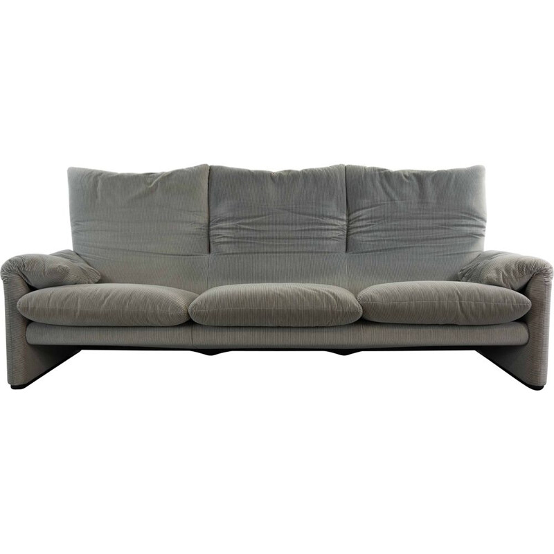 Vintage Cassina Maralunga 3-Seater Sofa by Vico Magistretti in grey 1973