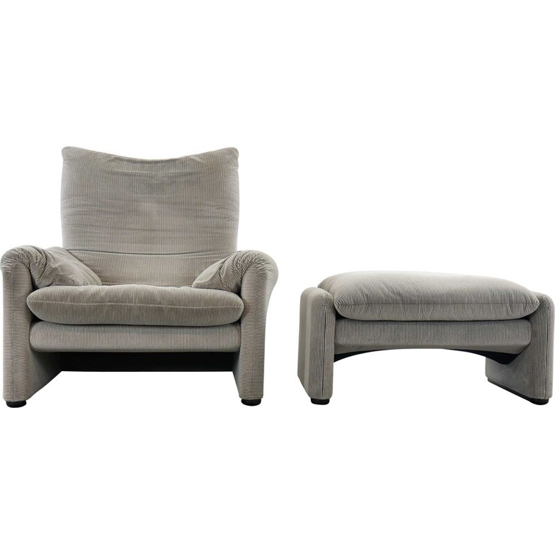 Vintage Chair and Ottoman Stool in grey Cassina Maralunga 1973