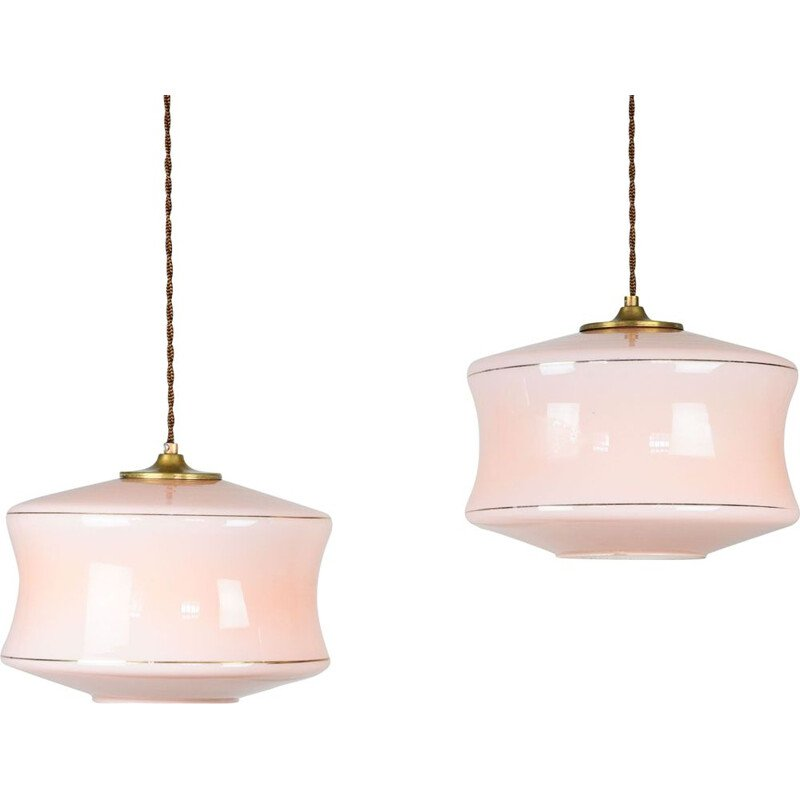 Pair of Mid-century pink glass & brass pendant lamps