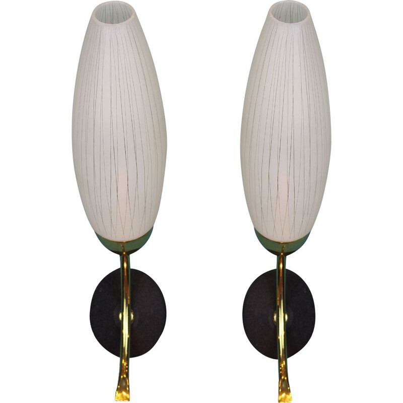 Pair of  opaline glass wall lights 1950's