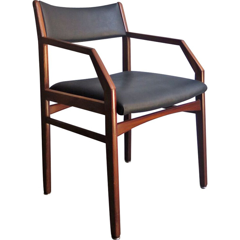 Vintage Chair in black leather and wood 1960s
