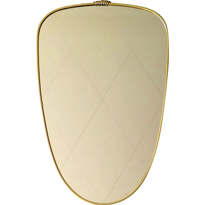 Vintage princess mirror with golden frame 1950