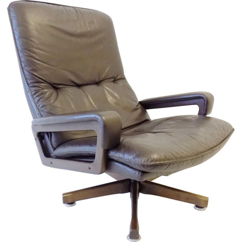 Vintage Strässle King chair brown leather armchair by Andre Vandenbeuck by WK