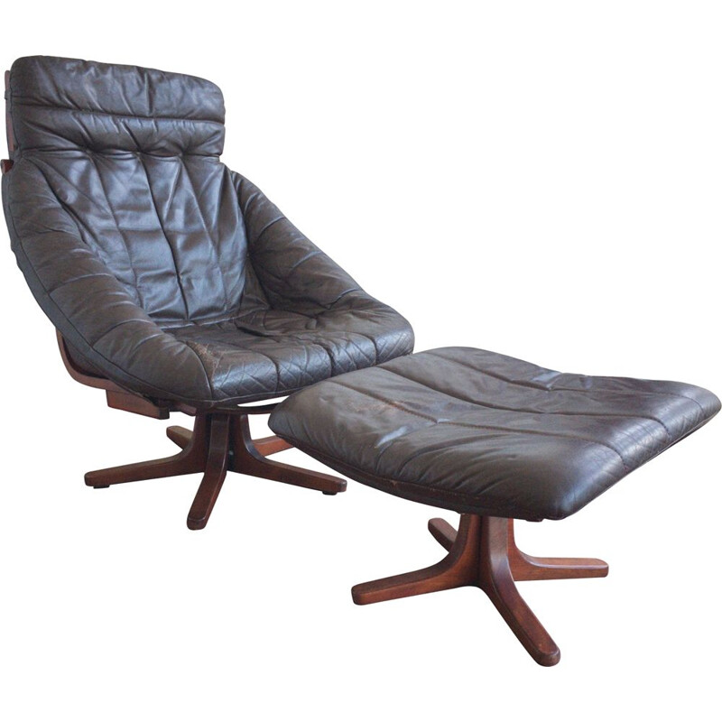 Vintage Brown Leather Armchair with stool, rotatable, 1970s