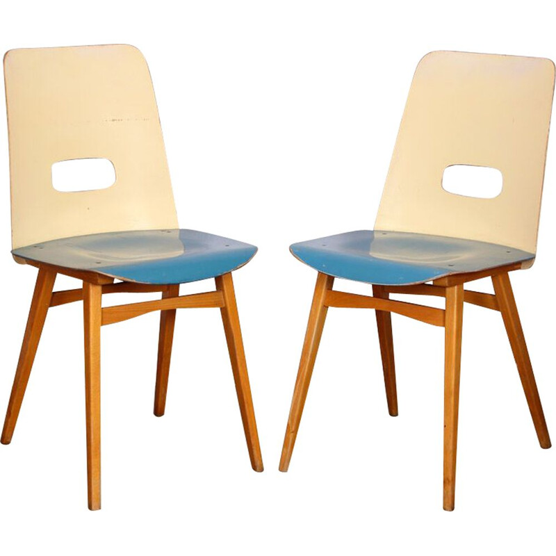 Pair of vintage blue chairs for Czech Ton, 1960