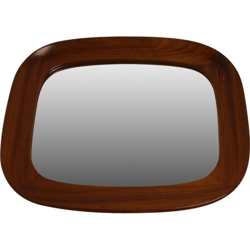 Vintage mirror with wide wooden edge