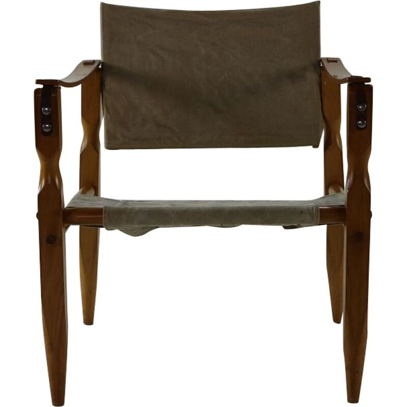Vintage safari chair with wooden armrests Danish